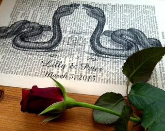 Cobra Love Wedding Anniversary Engagement Valentine Gift Personalized Art Print on Antique 1896 Dictionary Book Page