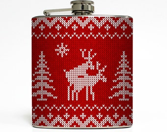 Ugly Christmas Sweater Flask Red Reindeer Funny White Elephant Dirty Santa Stocking Stuffer Gift Stainless Steel 6 oz Liquor Flask LC-1337