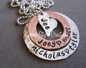 Hand Stamped Mixed Metal Love necklace