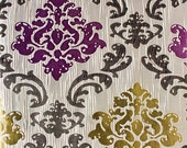 Custom Curtains with Beige / Burgundy / Green Damask Pattern One Panel with lining Custom sizes available