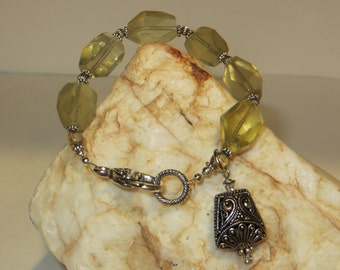 Lemon Quartz & Czech Glass Charm Bracelet