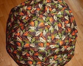 Army Tank Bean Bag Chair Cover Military Green Orange Tan