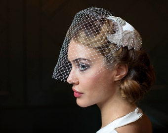Vintage Wedding Headpiece with veil - Juliet cap  with Birdcage veil - 1940s Headpiece, 1930s Headpiece.