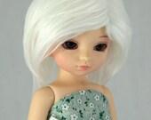 Size 6-7 White Faux (Fake) Fur Wig for LTF / Unoa / YoSD, 6/7