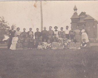 Vintage Photo - Group in the Grass, Vernacular, Black and White  (HHH)