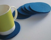 Six Teal Blue Drink Coasters, Felt Drink Coasters, Fabric Coasters