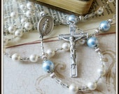 Custom Boys Catholic Baptism Rosary in White & Blue Swarovski Pearl, Christening/ Baptism Gift
