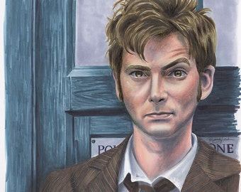 The Doctor, Tenth - Print - Doctor Who Tenth Doctor David Tennant Copic Drawing