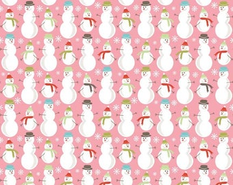 A Merry Little Christmas Snowmen Pink by Zoe Pearn for Riley Blake, 1/2 yard fabric