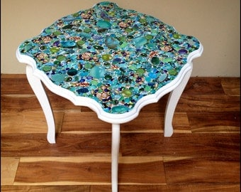 Square Scalloped Accent Table with Gem Stone Collage