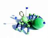 Mint Blue Ant - glass beaded insect pendant