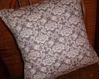 Grey Damask Pillow Cover 18x18