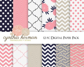 Fresh Navy digital paper pack