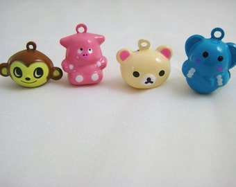 Jungle Collection - 4 Pieces - 1 Brown Monkey, 1 Pink Hippo, 1 Cream Bear, 1 Blue Elephant Animal Jingle Bell Charms