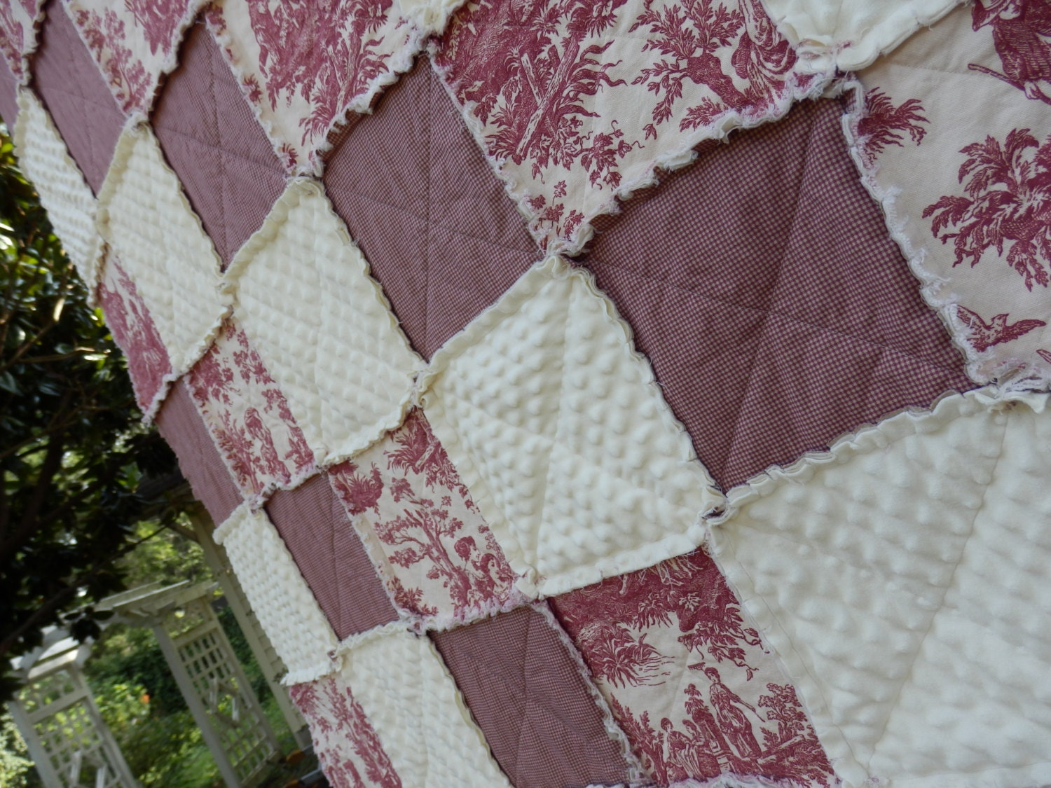 Rag Quilt Patterns For Twin Bed : French Country Twin Size Rag Quilt and 1 by KristinsCountryHome