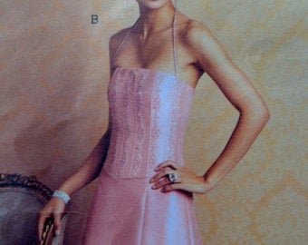 Boned Bodice Evening Gown Pattern Vogue 2732 Size 12 14 16 Badgley Mischka Designer Bust 34 to 38  UNCUT