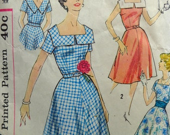 50s Dress Pattern Simplicity 3044 Plus Size Rockabilly Bust 44 Dress w Full Skirt & Square Neck