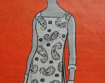 70s Side Underpleats Dress Pattern Marian Martin 9157 Size 14 Shift Dress Square Neckline