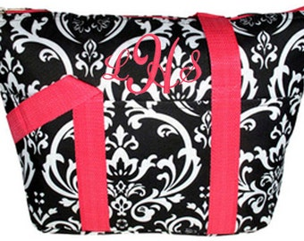 Personalized Insulated Lunch Tote Black & White Damask Print Pink Trim