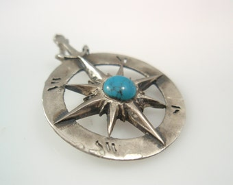 compass Turquoise pendant  Solid Silver Sterling 925 by EZI ZINO