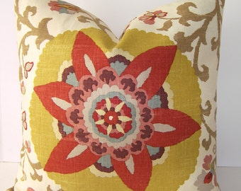 Decorative Designer Pillow Cover / Silsila / P Kaufmann / Curry / Saffron / Sage Green / Oyster