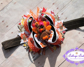 Turkey headband, turkey over the top headband, Thanksgiving bow, Thanksgiving over the top bow, Thanksgiving layered bow