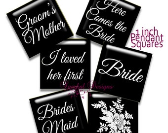 Digital Collage Sheet Vintage Wedding 1 inch Square images cufflink images Bride Groom Digital Collage Sheets