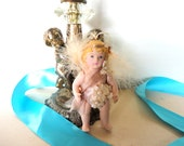 Vintage Porcelain Doll Ornament Angel Cherub Feathered Wings