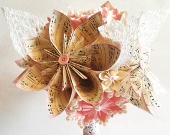 Shabby Chic Bridal Bouquet- one of a kind paper bouquet, origami, paper flower wedding bouquet, brides bouquet, first anniversary gift