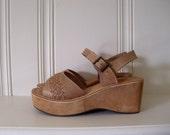platform shoes tan woven leather platforms ankle strap shoes 8 8.5