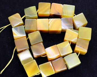 Beautiful Large Yellow Botswana Agate Cubic Beads