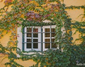 Window print, Ivy, Countryside photography, Fall images, Rustic Photography, Travel photography, Ivy images, green, yellow