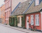 Red House Fine Art Print, Bike Photograph,Travel Photograph, Sweden Photo, Bike Print Travel Art, Europe, Malmo, Cottage Decor, White Door