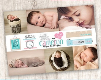 Cute Creative Baby Birth Announcement, Modern Baby Announcement, Pastel Colors, Gender Neutral, Collage - DiY Printable || Measures of Love