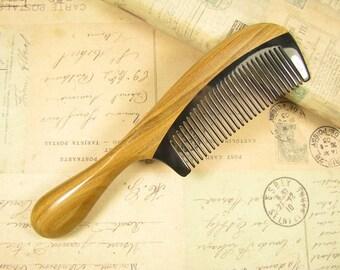 Big Buffalo Horn and Verawood Hair Comb Long Handle
