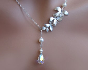 Silver Orchid Pearl Wedding Necklace Womens Brides Jewelry Bridal Party Gift