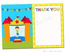 PRINTABLE Boy Bounce House Thank You Cards #508
