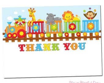 PRINTABLE Circus Train Baby Shower Thank You Cards #203