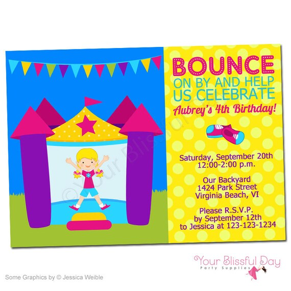 PRINTABLE Girl Bounce House Party Invitation #508