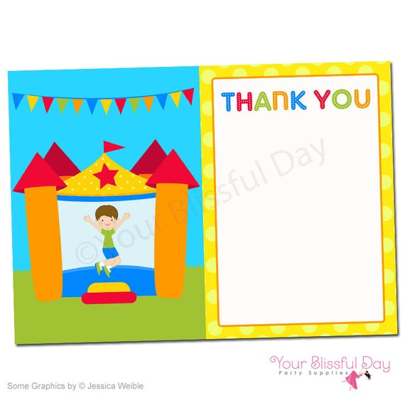 PRINTABLE Boy Bounce House Thank You Cards #508