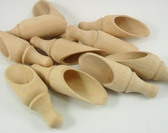 """10 Scoops 3 5/8"""" Unfinished Wood Scoops Round Handle"""