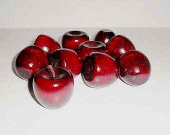 """Apples 10 Painted Red Wood Apple Cherry Wood Miniatures 1 1/4"""""""