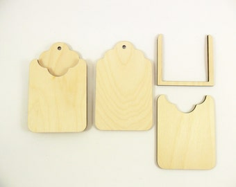 "2 Wood Gift Card Holders 4 1/2"" x 2 3/4"" Unfinished Wood Gift Card Holder DIY"