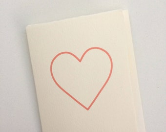 Card with a medium pink heart // anniversary card // generic card // card for any occasion // heart cards // cards with a heart