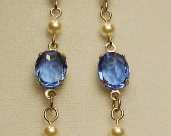Victorian Steampunk blue sapphire earrings E020