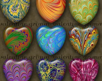 ELECTRIC SWIRLS 1 inch Hearts - Digital Printable collage sheet for making Jewelry Magnets Crafts...Wild Wavy Color OOAK Designs