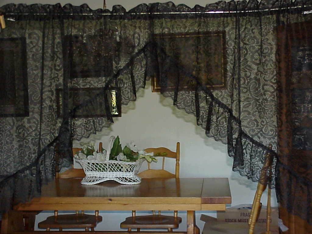 Vintage Victorian Lace Black Swag Curtains