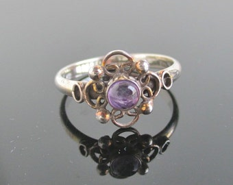 925 Sterling Silver & Purple Amethyst Ring - Size 8