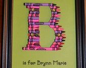 Crayon Initial Art -- Personalized -- One Color -- Nursery Picture