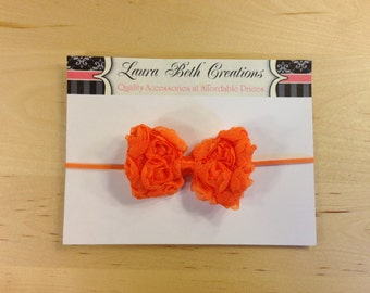 Orange Mini Chiffon Rose Bow Headband - Baby Headband - Toddler Headband - Newborn Headband - Bow Headband